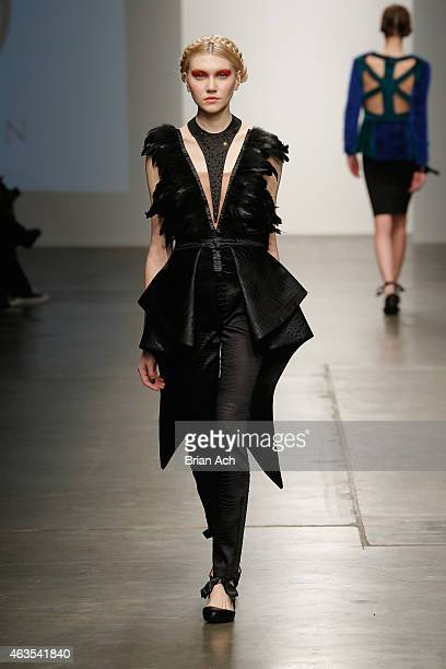 A model walks the runway during the Prieston show at the Nolcha Fashion Week New York Fall Winter Collections 2015/2016 during NY Fashion Week at...