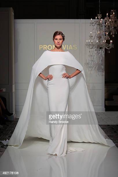 A model walks the runway during the Pronovias Bridal Fall/Winter 2016 Fashion Show on October 10 2015 in New York City