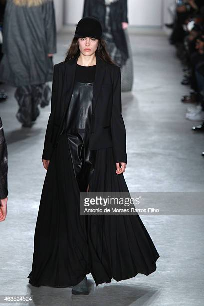 A model walks the runway during the Public School fall 2015 fashion show on February 15 2015 in New York City