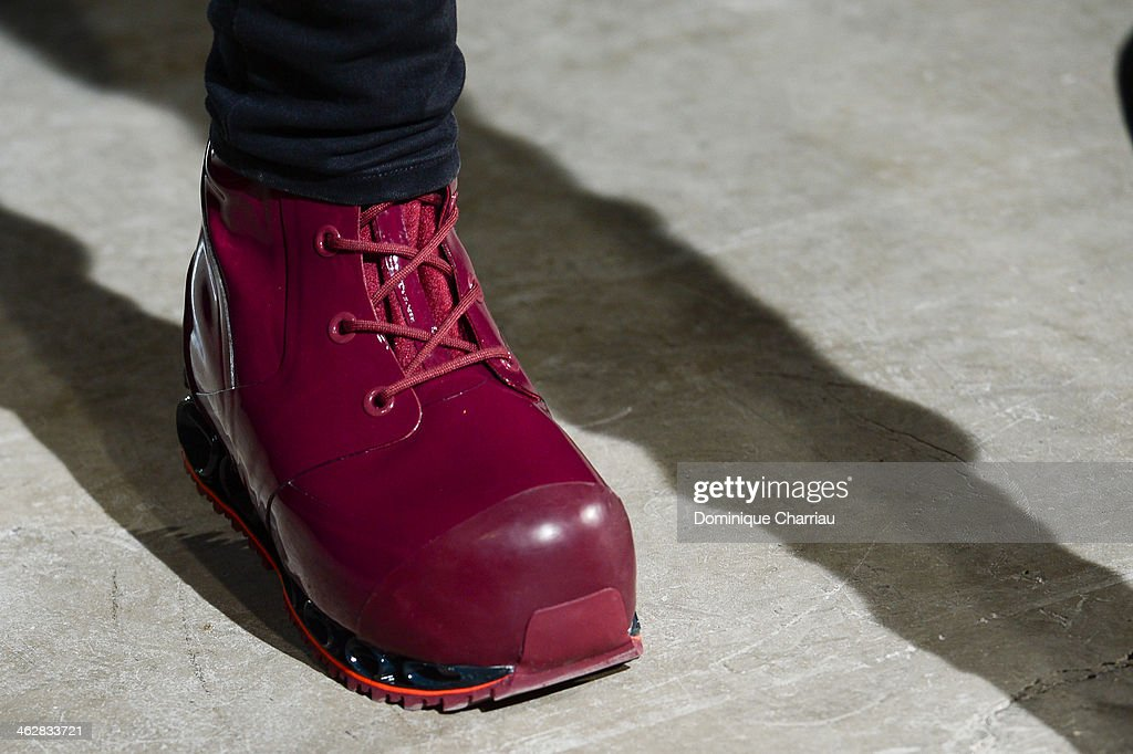A model walks the runway (shoe detail) during the Raf Simons/Sterling Ruby Menswear Fall/Winter 2014-2015 show as part of Paris Fashion Week on January 15, 2014 in Paris, France.
