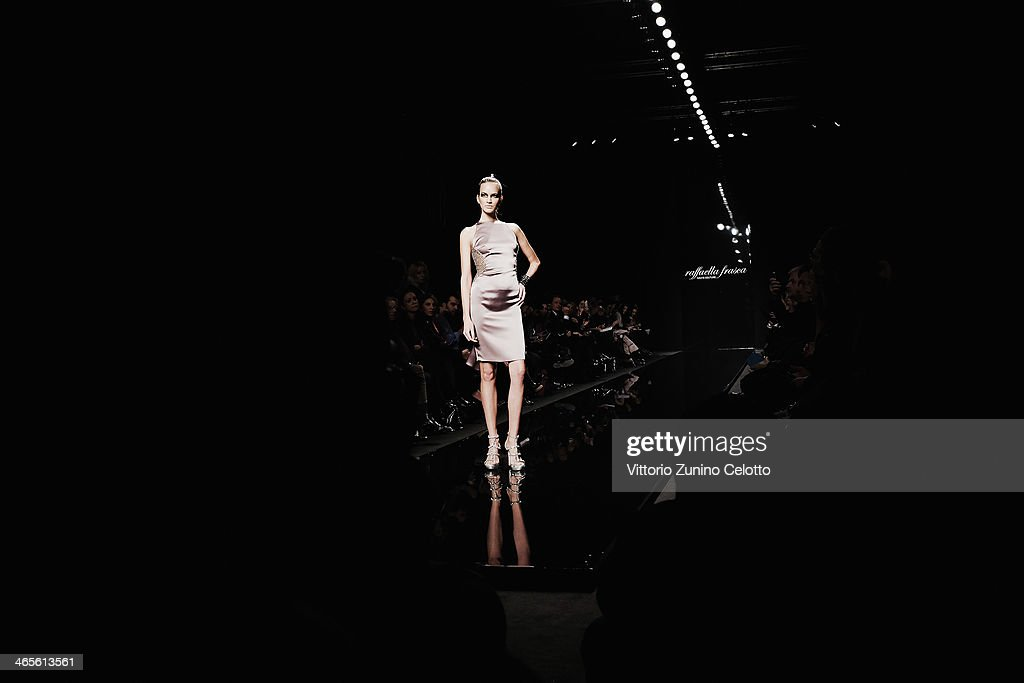 A model walks the runway during the Raffaella Frasca Haute Couture fashion show at Altaroma Altamoda on January 27, 2014 in Rome, Italy.
