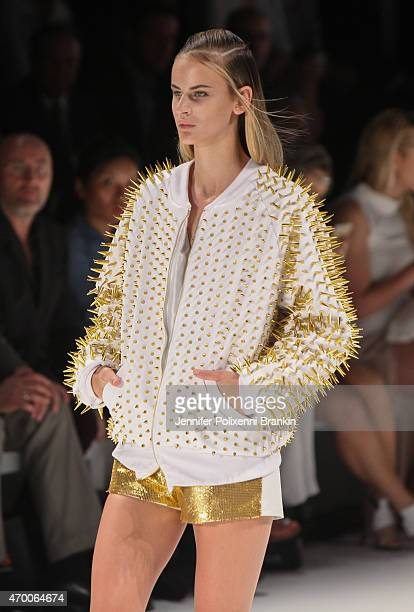 A model walks the runway during the Raffles International Showcase show at MercedesBenz Fashion Week Australia 2015 at Carriageworks on April 16 2015...