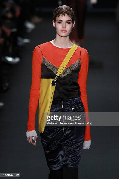 A model walks the runway during the Rag Bone fall 2015 fashion show on February 16 2015 in New York City