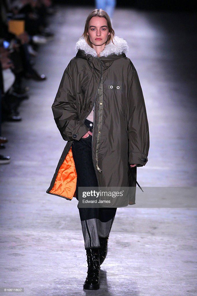 A model walks the runway during the Rag Bone fashion show at 341 West Houston Street on February 15 2016 in New York City