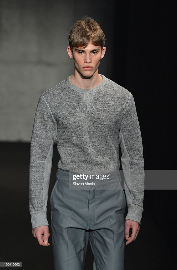A model walks the runway during the Rag & Bone Men's collection fall 2013 fashion show on January 30, 2013 in New York City.
