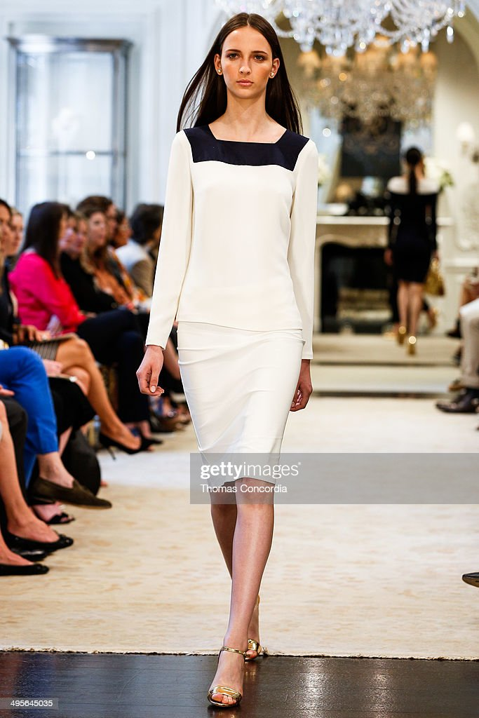 A model walks the runway during the Ralph Lauren resort 2015 showing on June 4, 2014 in New York City.