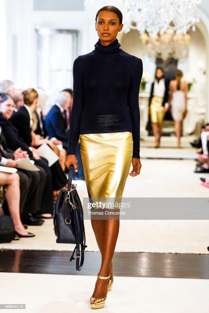 A model walks the runway during the Ralph Lauren resort 2015 showing on June 4, 2014 in New York City.