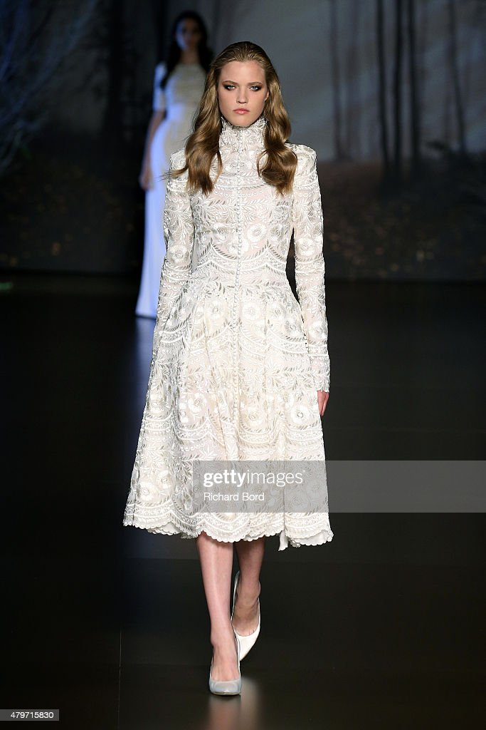 A model walks the runway during the Ralph & Russo show as part of Paris Fashion Week Haute Couture Fall/Winter 2015/2016 on July 6, 2015 in Paris, France.