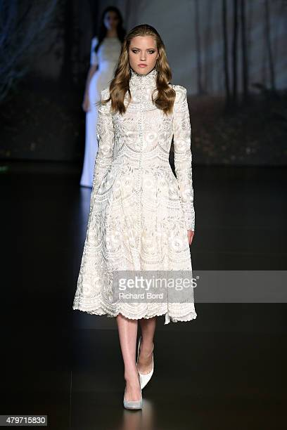 A model walks the runway during the Ralph Russo show as part of Paris Fashion Week Haute Couture Fall/Winter 2015/2016 on July 6 2015 in Paris France