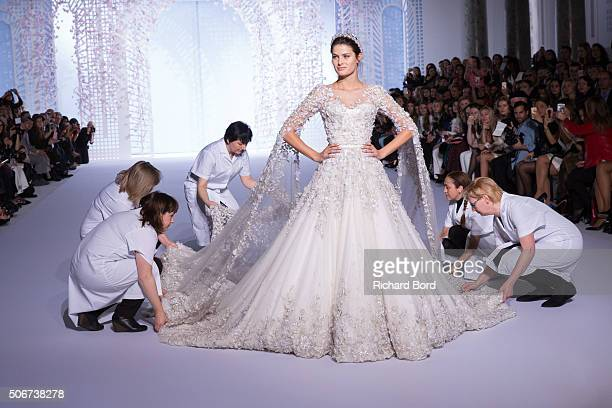 A model walks the runway during the Ralph Russo Spring Summer 2016 show as part of Paris Fashion Week on January 25 2016 in Paris France