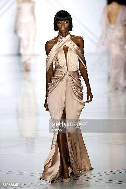 A model walks the runway during the Ralph Russo Spring Summer 2017 show as part of Paris Fashion Week on January 23 2017 in Paris France