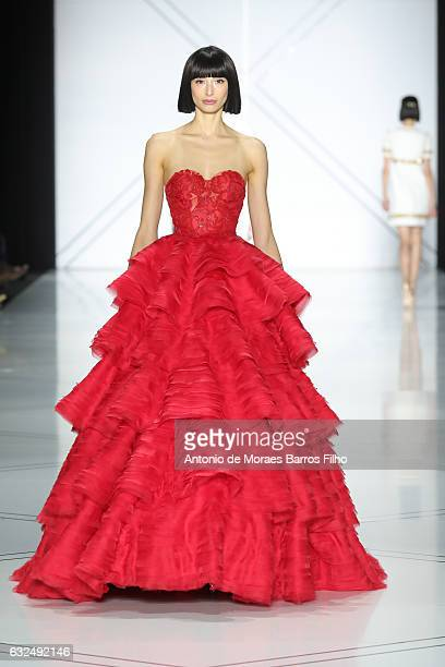 A model walks the runway during the RalphRusso Haute Couture Spring Summer 2017 show as part of Paris Fashion Week on January 23 2017 in Paris France