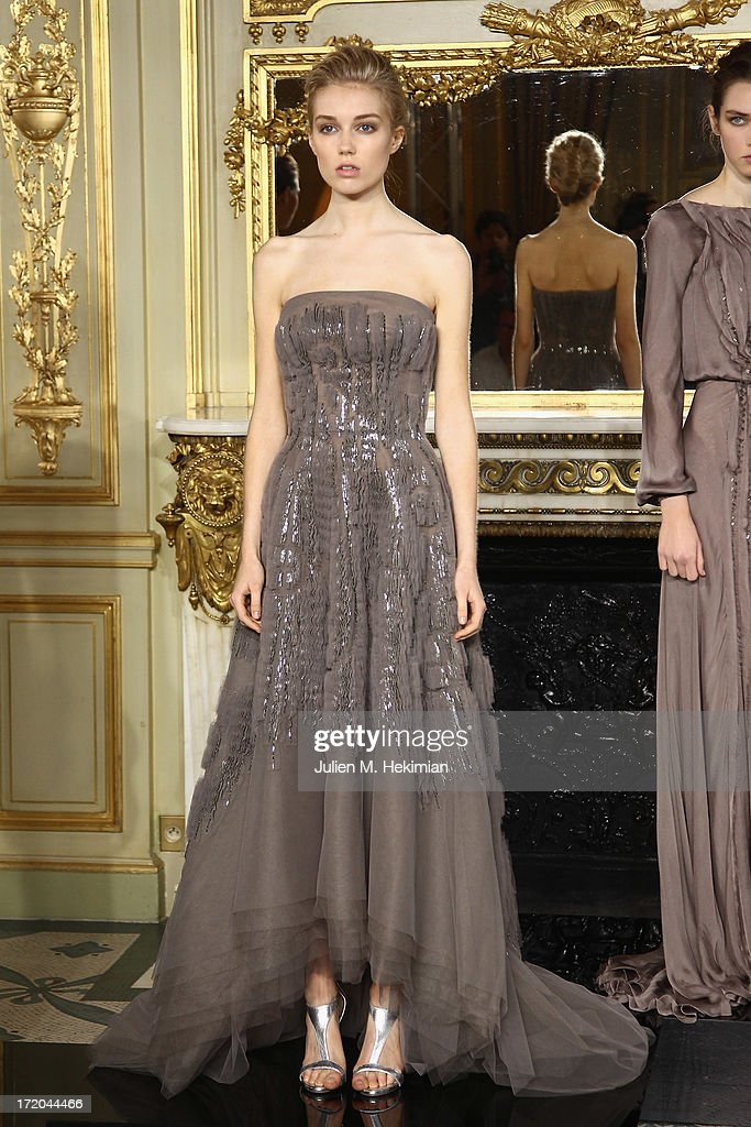 A model walks the runway during the Rami Al Ali show as part of Paris Fashion Week Haute-Couture Fall/Winter 2013-2014 at on July 1, 2013 in Paris, France.