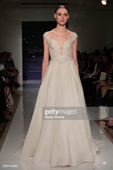 A model walks the runway during the Reem Acra Bridal Spring/Summer 2016 Runway Show on April 17 2015 in New York City