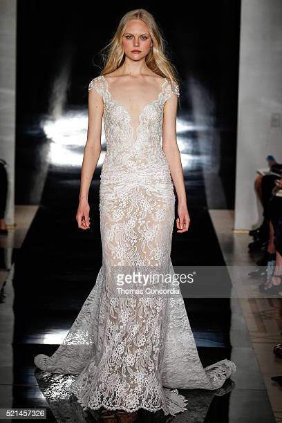 A model walks the runway during the Reem Acra Bridal Spring/Summer 2017 Runway Show at Reem Acra Showroom on April 15 2016 in New York City