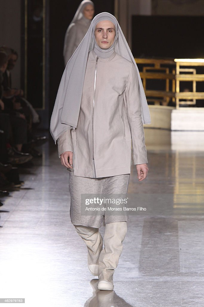 A model walks the runway during the Rick Owens Menswear Fall/Winter 2014-2015 show as part of Paris Fashion Week on January 16, 2014 in Paris, France.