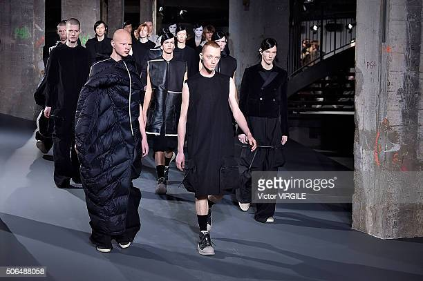 A model walks the runway during the Rick Owens Menswear Fall/Winter 20162017 show as part of Paris Fashion Week on January 21 2016 in Paris France