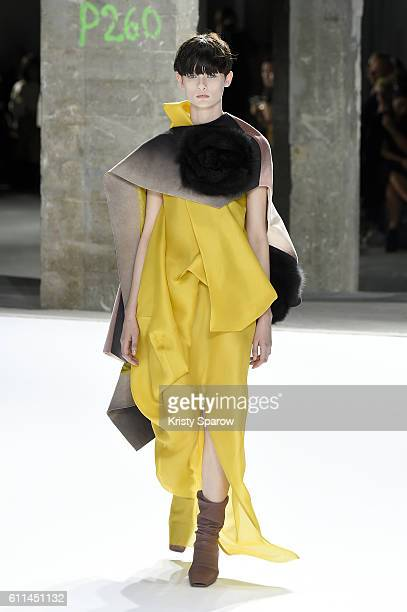 A model walks the runway during the Rick Owens show as part of Paris Fashion Week Womenswear Spring/Summer 2017 on September 29 2016 in Paris France