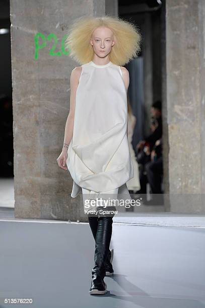 A model walks the runway during the Rick Owens show as part of the Paris Fashion Week Womenswear Fall/Winter 2016/2017 on March 3 2016 in Paris France