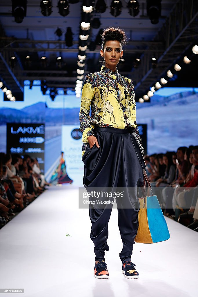 A model walks the runway during the Rimi Nayak show on day 4 of Lakme Fashion Week Summer/Resort 2015 at Palladium Hotel on March 21 2015 in Mumbai...