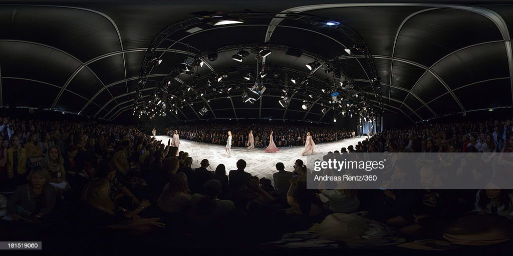 A model walks the runway during the Roberto Cavalli show as a part of Milan Fashion Week Womenswear Spring/Summer 2014 on September 21, 2013 in Milan, Italy.