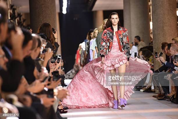 A model walks the runway during the Roberto Cavalli show as a part of Milan Fashion Week Spring/Summer 2016 on September 26 2015 in Milan Italy