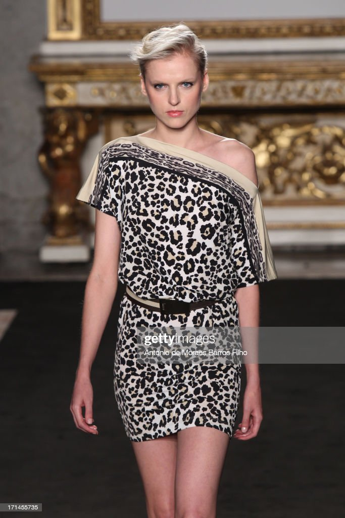 A model walks the runway during the Roccobarocco show as a part of MFW S/S 2014 on June 24, 2013 in Milan, Italy.