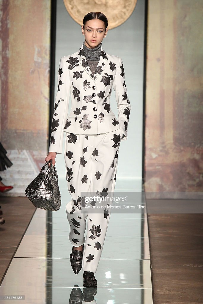 A model walks the runway during the Roccobarocco show as a part of Milan Fashion Week Womenswear Autumn/Winter 2014 on February 23, 2014 in Milan, Italy.