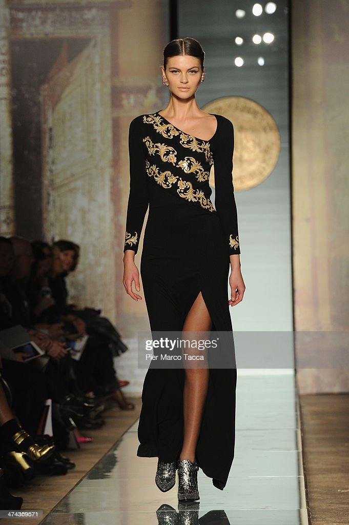 A model walks the runway during the Roccobarocco show as part of Milan Fashion Week Womenswear Autumn/Winter 2014 on February 23, 2014 in Milan, Italy.