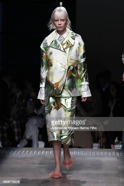 A model walks the runway during the Rochas show as part of the Paris Fashion Week Womenswear Spring/Summer 2016 on September 30 2015 in Paris France