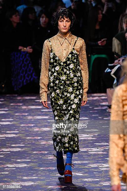 A model walks the runway during the Rochas show as part of the Paris Fashion Week Womenswear Fall/Winter 2016/2017 on March 2 2016 in Paris France