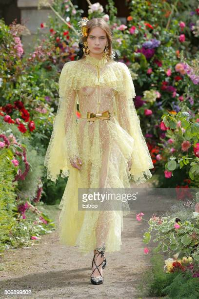 A model walks the runway during the Rodarte Haute Couture Fall/Winter 20172018 show as part of Haute Couture Paris Fashion Week on July 2 2017 in...