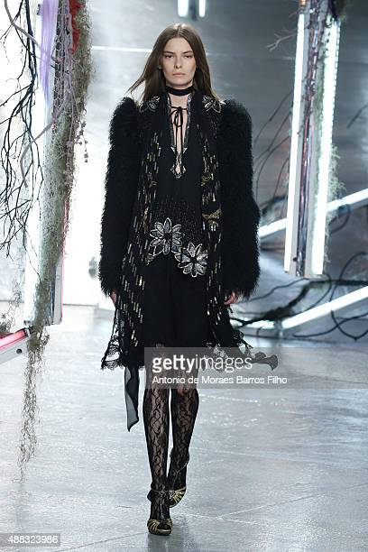 A model walks the runway during the Rodarte show as a part of Spring 2016 New York Fashion Weekon September 15 2015 in New York City