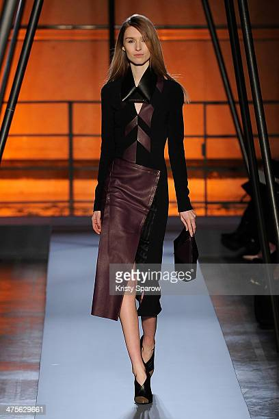 A model walks the runway during the Roland Mouret show as part of Paris Fashion Week Womenswear Fall/Winter 20142015 on February 28 2014 in Paris...