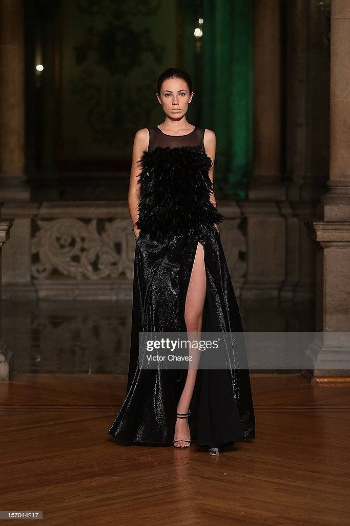 A model walks the runway during the Rolando Santana Spring/Summer 2013 fashion show at Casino Español on November 27, 2012 in Mexico City, Mexico.