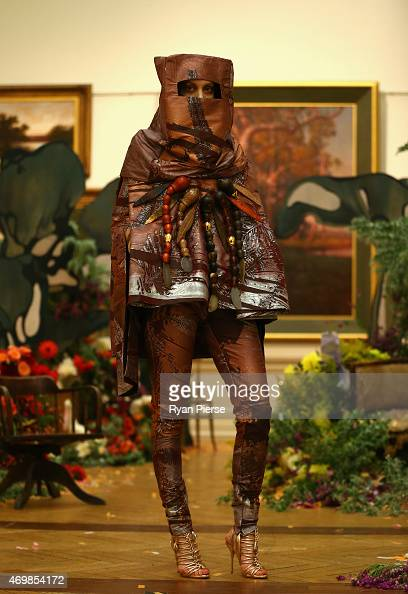A model walks the runway during the Romance Was Born show at MercedesBenz Fashion Week Australia 2015 at the Art Gallery of New South Wales on April...