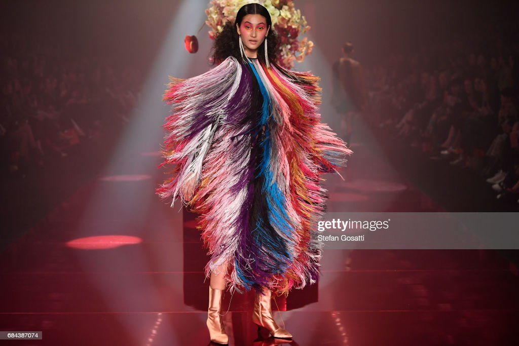 A model walks the runway during the Romance Was Born show at Mercedes-Benz Fashion Week Resort 18 Collections at Carriageworks on May 18, 2017 in Sydney, Australia.