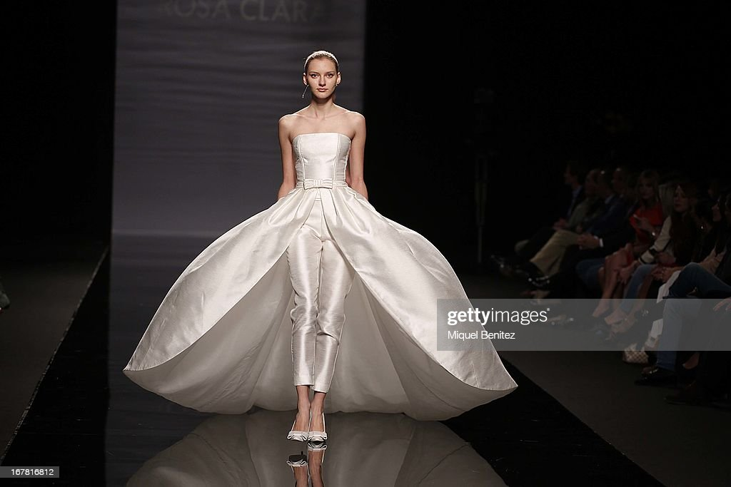 A model walks the runway during the Rosa Clara collection at the Barcelona Bridal Week 2013 on April 30, 2013 in Barcelona, Spain.