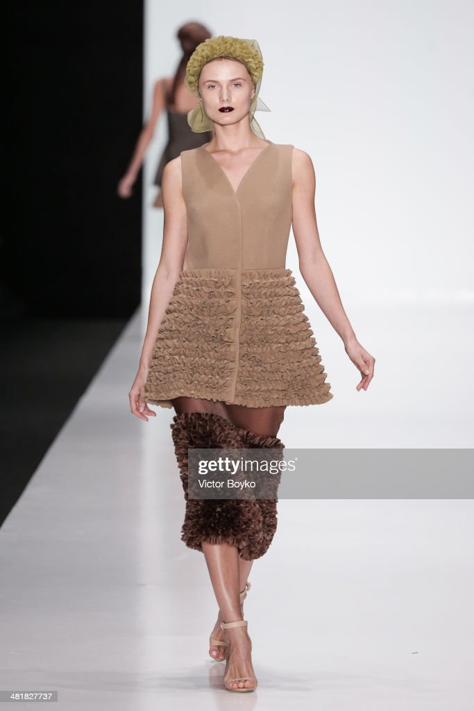 A model walks the runway during the Ruban show on day 5 of Mercedes-Benz Fashion Week Moscow AW14 on March 31, 2014 in Moscow, Russia.