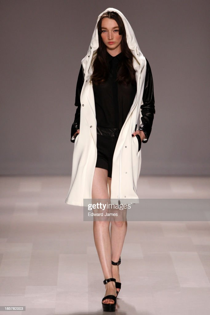 A model walks the runway during the Rudsak fashion show at David Pecaut Square on October 24, 2013 in Toronto, Canada.