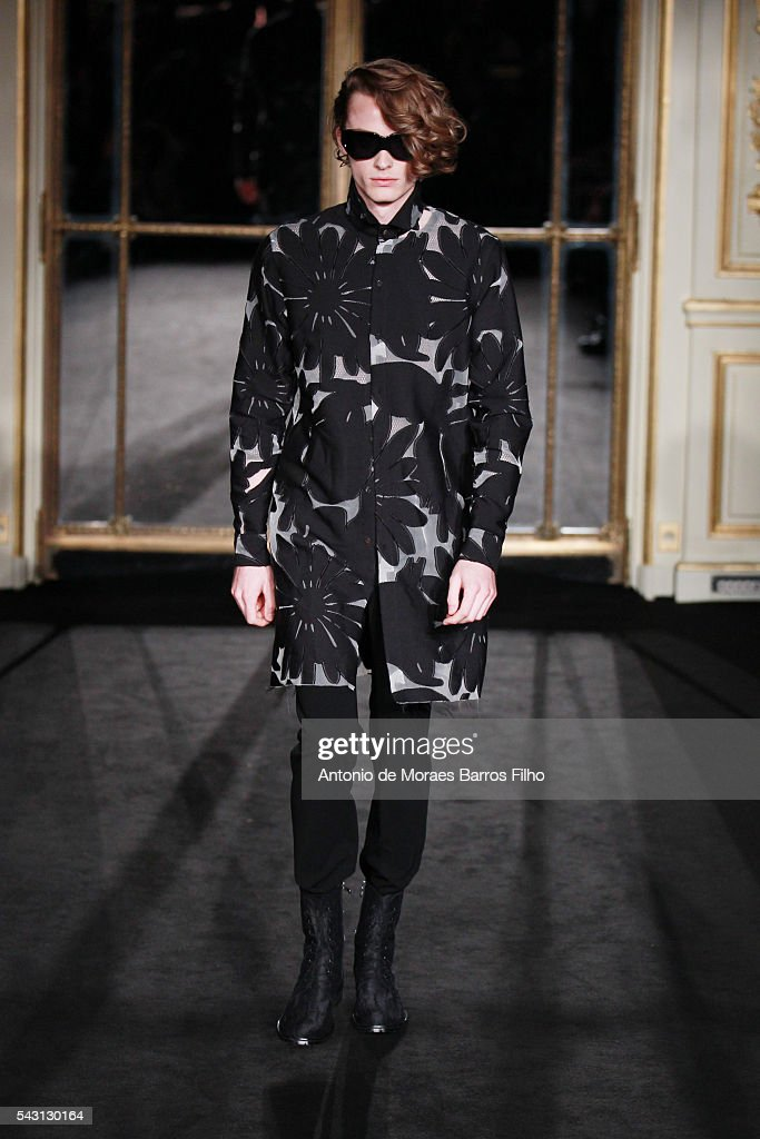 A model walks the runway during the Rynshu Menswear Spring/Summer 2017 show as part of Paris Fashion Week on June 26, 2016 in Paris, France.