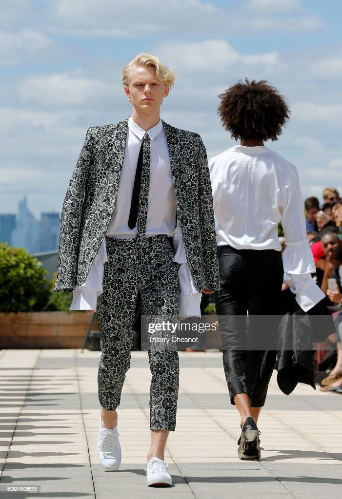 model-walks-the-runway-during-the-rynshu-menswear-springsummer-2018-picture-id800760896