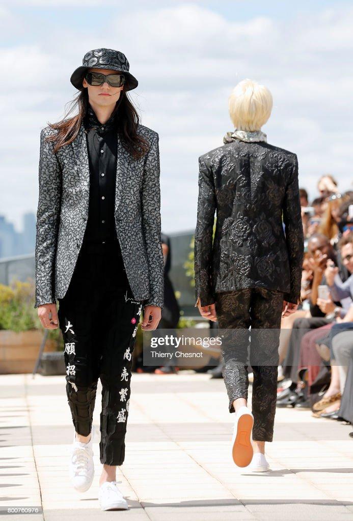 model-walks-the-runway-during-the-rynshu-menswear-springsummer-2018-picture-id800760976