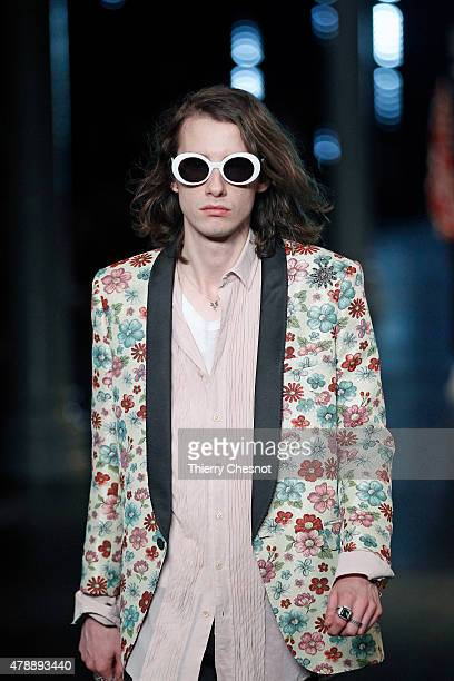 A model walks the runway during the Saint Laurent Menswear Spring/Summer 2016 show as part of Paris Fashion Week on June 28 2015 in Paris France