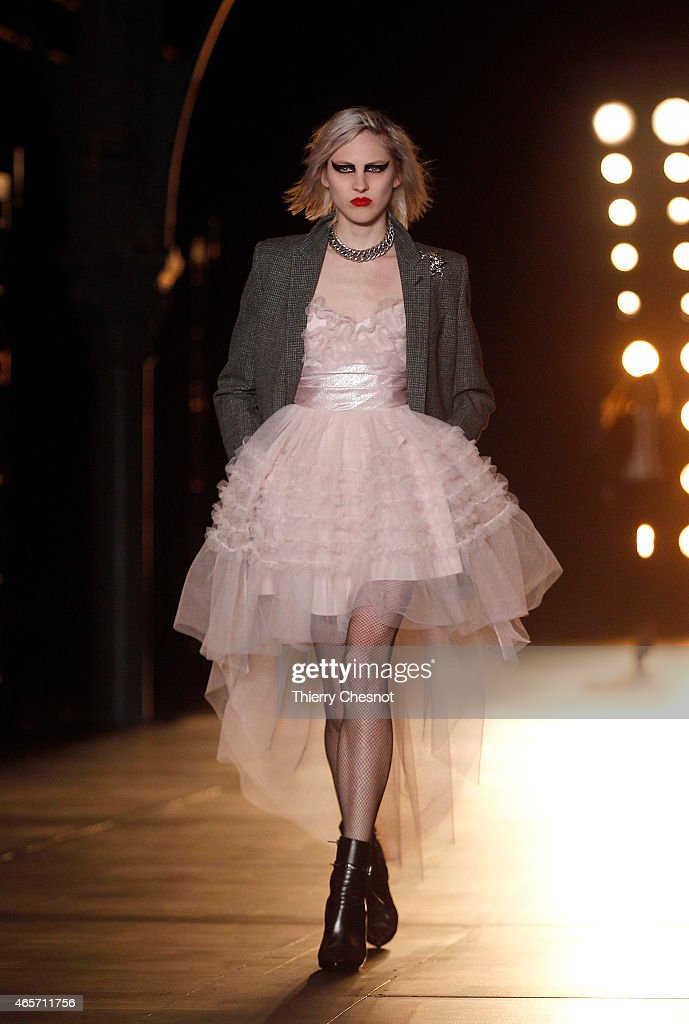 A model walks the runway during the Saint Laurent show as part of the Paris Fashion Week Womenswear Fall/Winter 2015/2016 on March 9 2015 in Paris...