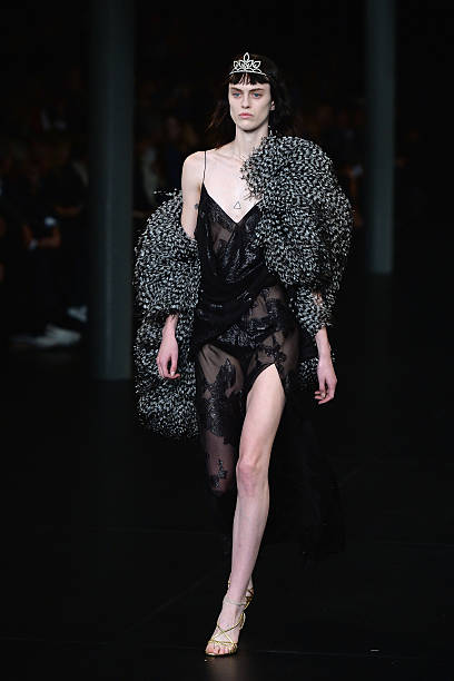 a080ff0a673 A model walks the runway during the Saint Laurent show as part of the Paris  Fashion