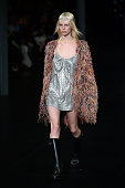 A model walks the runway during the Saint Laurent show as part of the Paris Fashion Week Womenswear Spring/Summer 2016 >> on October 5 2015 in Paris...