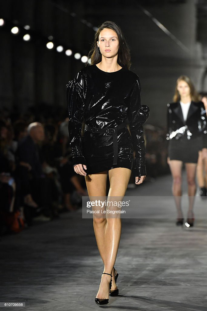 model-walks-the-runway-during-the-saint-laurent-show-as-part-of-the-picture-id610709556