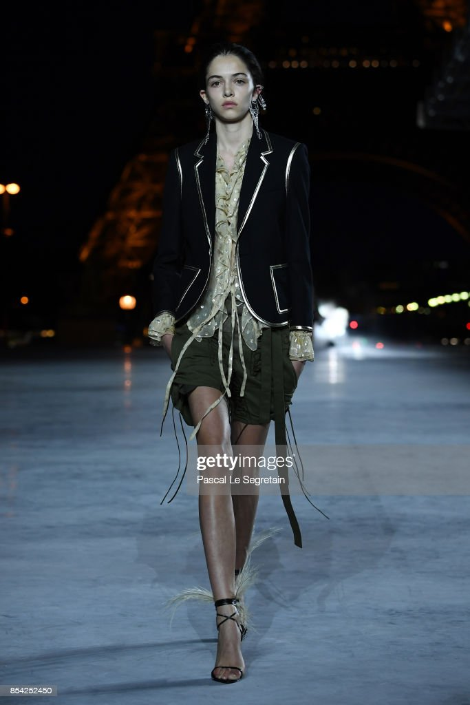 model-walks-the-runway-during-the-saint-laurent-show-as-part-of-the-picture-id854252450
