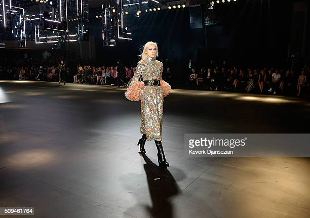A model walks the runway during the Saint Laurent show at The Hollywood Palladium on February 10 2016 in Los Angeles California